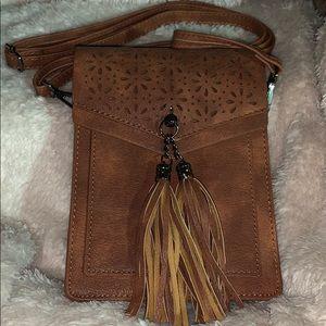 Handbags - Adorable vegan cert. brown faux leather crossover!
